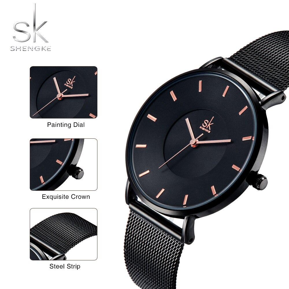 Shengke Fashion Black Women Watches 2020 High Quality Ultra thin Quartz Watch Woman Elegant Dress Ladies Watch Montre Femme SK enlarge