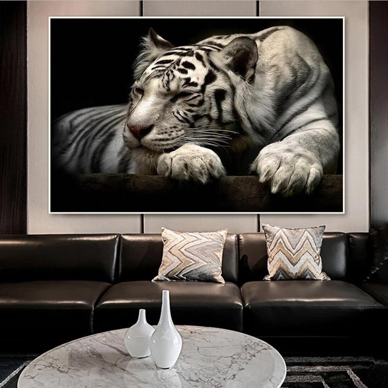 Плакаты с изображением тигра, черно-белых животных, современные картины на холсте и принты, настенные художественные картины для гостиной, ...