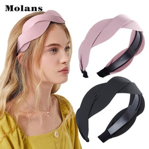 MOLANS Solid Fabric Wave Shape Headband Women Fashion Simple Wide-brimmed Hairband 2020 New Arrival Korean Hair Accessories