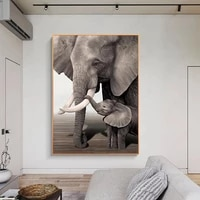 poster elephant mother and child animal canvas painting wall art nature home decoration for living room and bedroom frameless