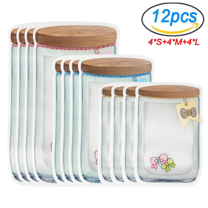 AliExpress - Upgraded Mason Jar Bags Reusable Plastic Ziplock Bag Snack Nuts Cookies Bag Kitchen Organizer for Seal Fresh Food Storage Bag