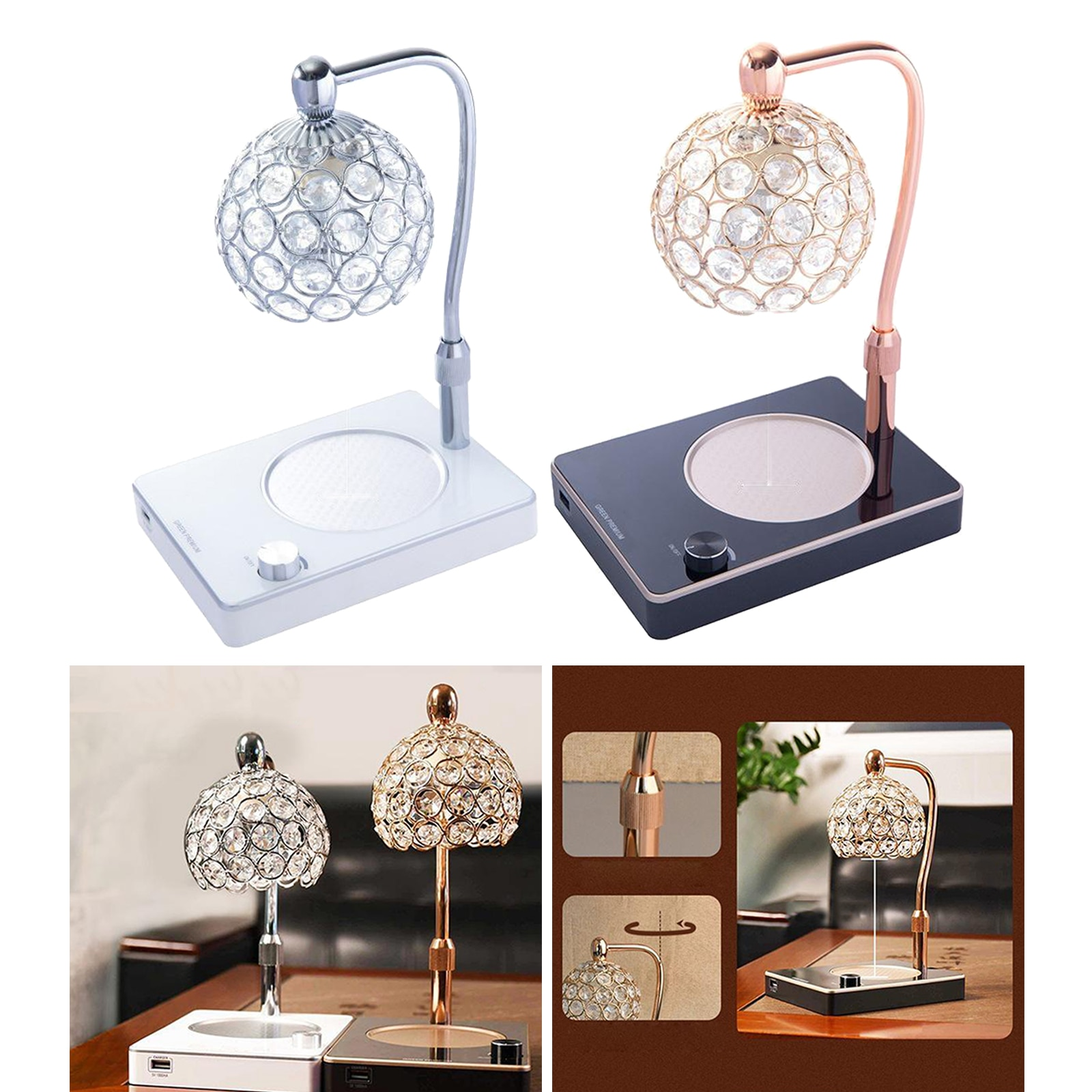 Candle Warmer Lamp, Top-Bottom Candle Wax Melting Lamp with USB Port, Height  - buy with discount