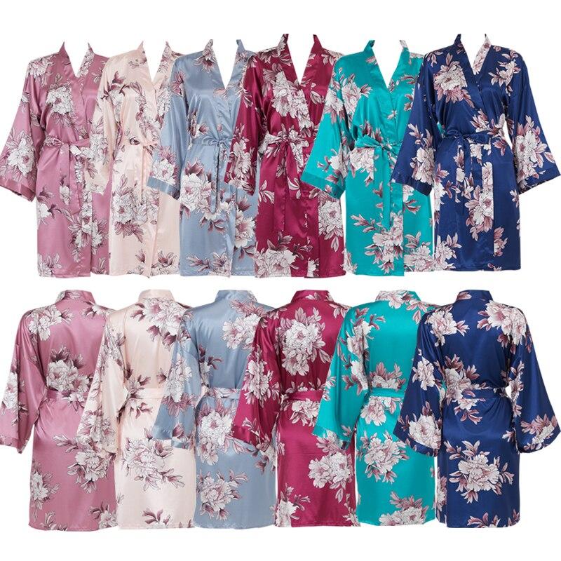 brand new silk satin women robe Wedding Bride Robe Bridesmaid Floral Robe Satin Silk Bathrobe Women Kimono Sleepwear Bridal Robes Women Wedding Robe