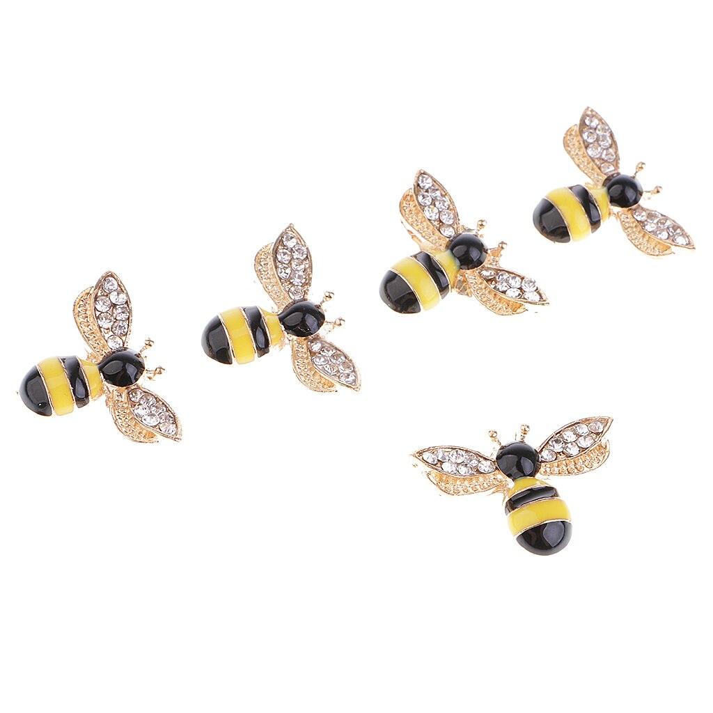 5 stück Bee Form Legierung Strass Flatback Tasten Scrapbooking Verzierungen