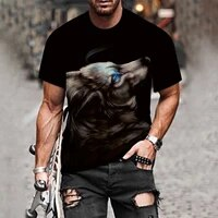 men women t shirt spring summer casual slim 3d printed lone wolf prints t shirts 2021 summer short sleeve t shirt top