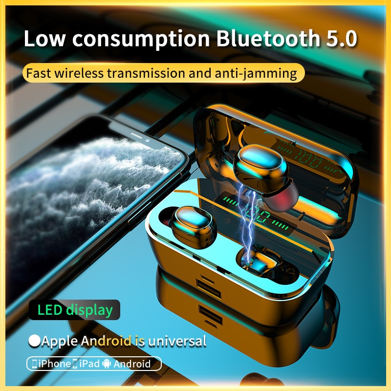 Briame TWS Bluetooth V5.0 Headphones 3D Stereo Sports Wireless Earphones with Dual Microphone enlarge