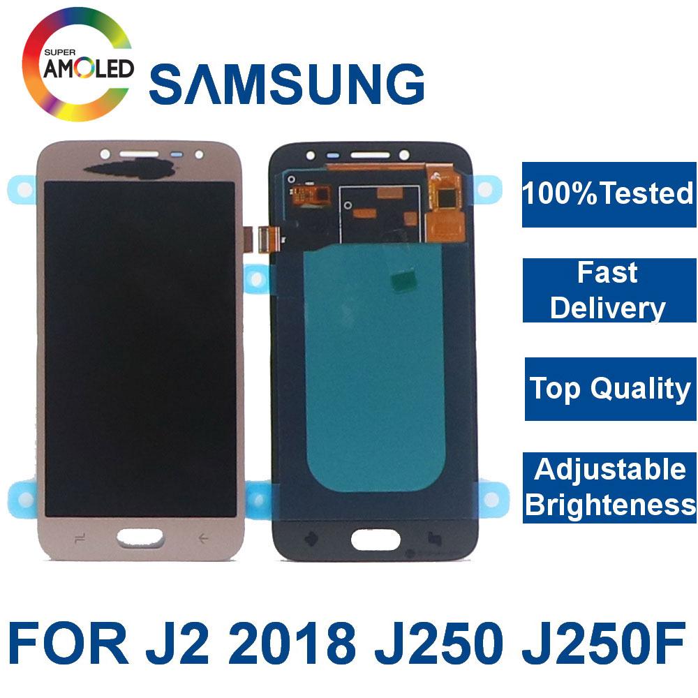 Super Amoled LCD Para SAMSUNG Galaxy J2 Pro LCD 2018 J250 J250F J250DS Display Touch Montagem Digitador Da Tela de Controle de Brilho