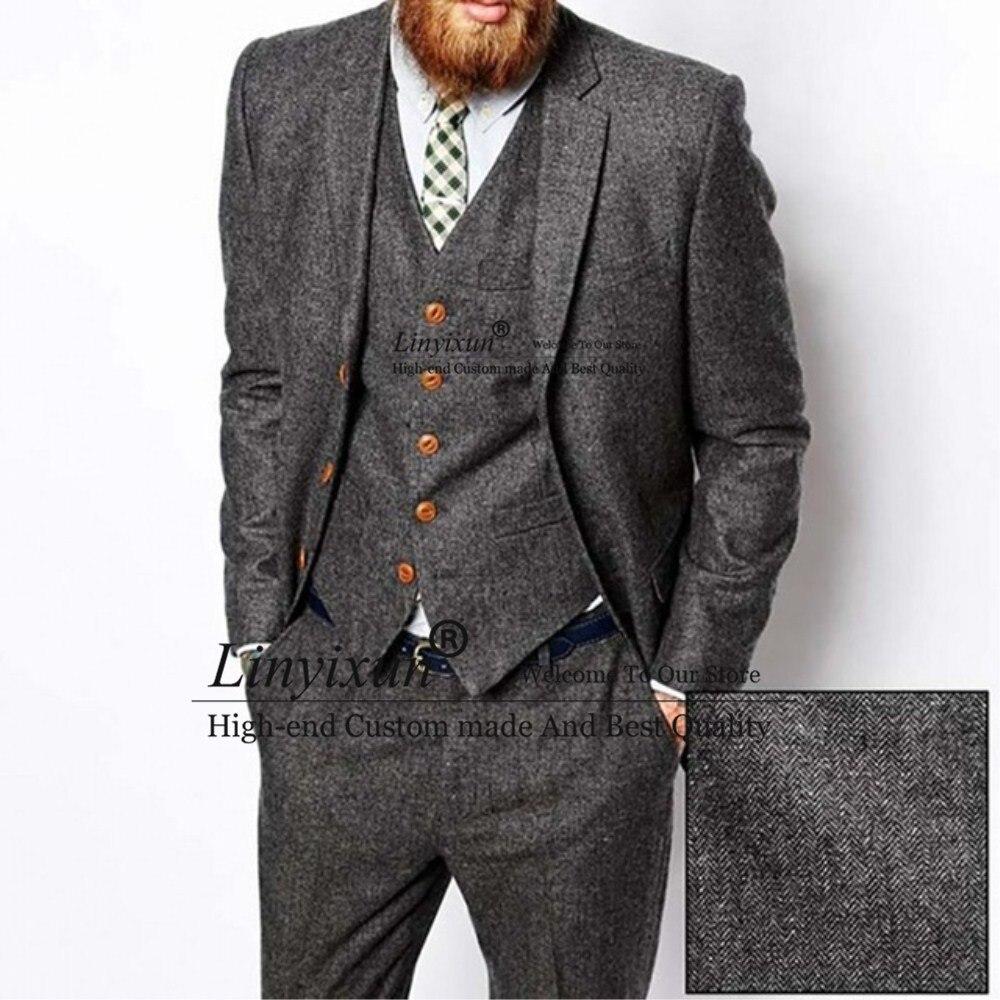 Men Herringbone Suits Winter Wool Blend Tuxedos Vintage Blazer Vest Pants Custom
