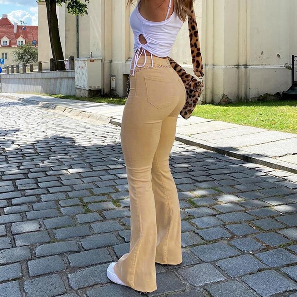 جينز نسائي جينز نسائي عالي الخصر واسع جينز كاكي أسود بني بنطلون نسائي للنساء ملابس بنطلون جينز نسائي