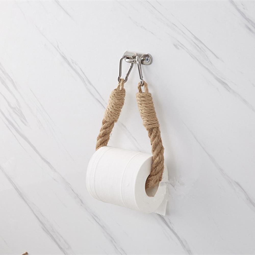 Vintage Hemp Rope Towel Toilet Paper Reel Roll Holder Ins Wall Mount Towel Holder Bathroom Toilet Home Hotels Decoration QLY1043