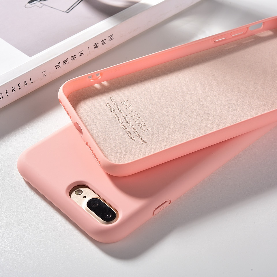 Líquido de silicona suave para iPhone 11 Pro Max 7 7 6 6 s 6 6 s Plus 7 7 8plus Color caramelo Coque Capa cubierta para iPhone X XR Xs.
