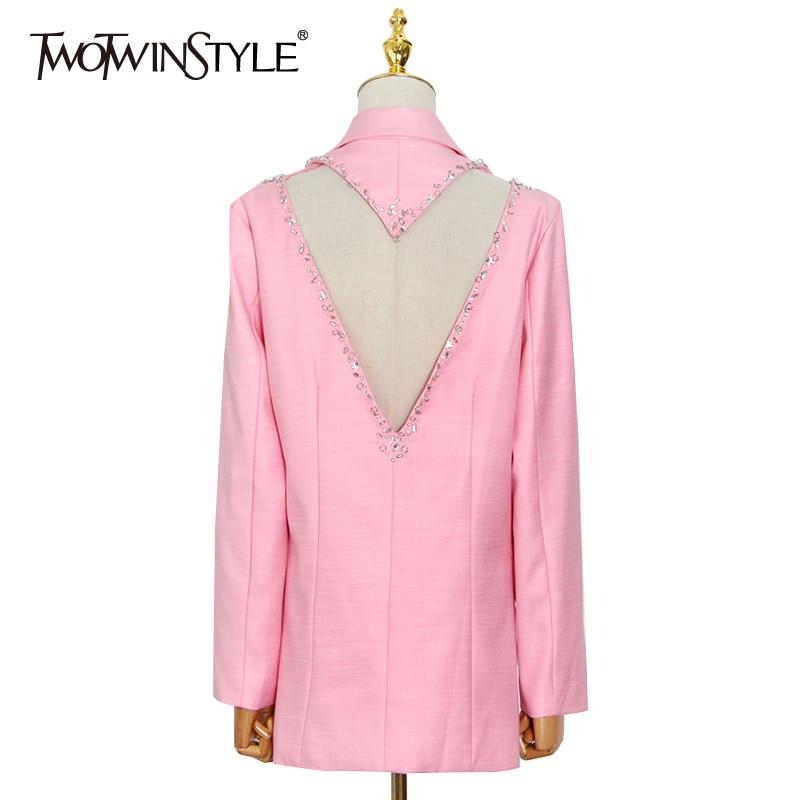 TWOTWINSTYLE سترات مستقيم الوردي للنساء محززة طويلة الأكمام الجوف خارج مصمم معاطف فضفاضة الإناث 2021 الربيع الملابس جديد