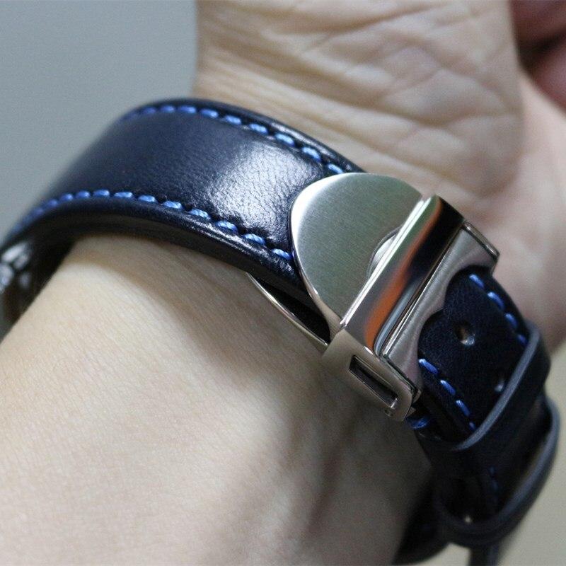 كريزي هورس-حزام ساعة من جلد العجل الأصلي ، حزام ساعة عتيق ، بني ، أزرق ، 20 مللي متر ، 21 مللي متر ، 22 مللي متر ، صناعة يدوية