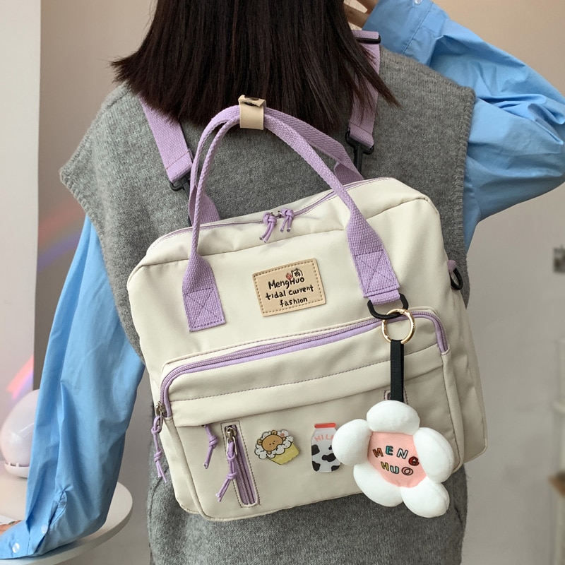 DCIMOR Lovely Multifunctional Backpack Teenage Girl Ring buckle Portable Travel Bag Female Small Sch