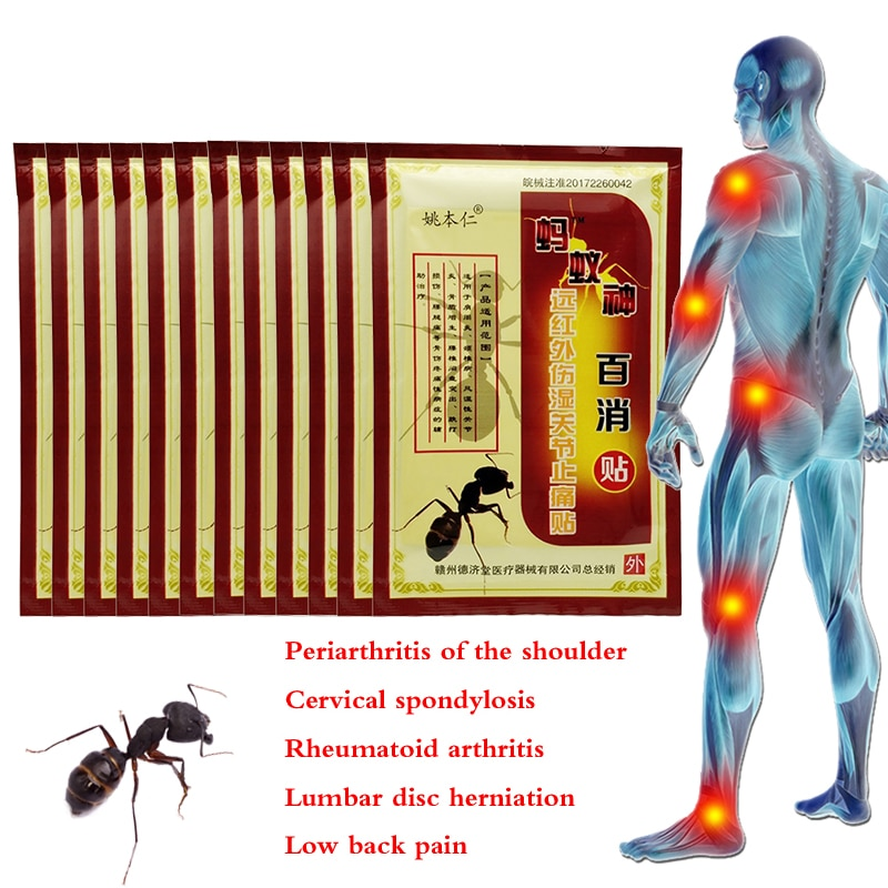 Yeso medicado con hormiga negra de 80 Uds., medicina Shaolin, parche adhesivo para aliviar el dolor de rodilla, Parche de yeso dolor medicado para articulaciones y espalda