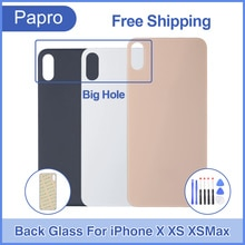 100% Ori Back Glass Panel For iPhone X Battery Glass Cover Rear Door Housing Case For iPhone XS XR X