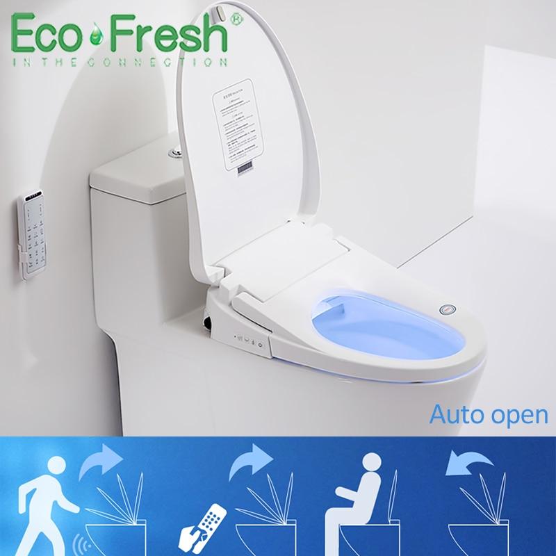 EcoFresh قطعة واحدة مرحاض مرحاض مقعد مرحاض ذكي غطاء مقعد سيارات الوجه افتتاح الإلكترونية بيديت ذكي ساخنة غطاء المرحاض
