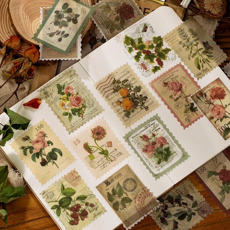 Retro tempo post office série adesivos decorativos scrapbooking vara etiqueta diário papelaria álbum vintage selo flor adesivos