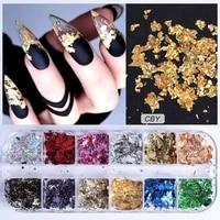 1pcs aluminum flakes sequins nail glitter powder irregular mirror chrome pigment paillette foil manicure nail art decor 8g