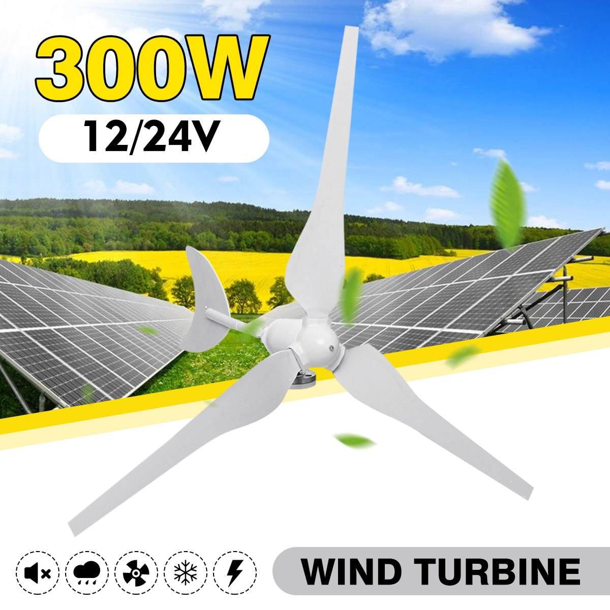 Wind Generator 300W AC12V/24V Wind Turbines Wind Turbines Generator with 3 Nylon Fiber Blades for Home Solar Streetlight ,Boat