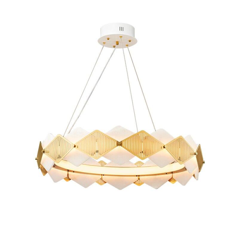 Lujo chapado en oro de acero inoxidable anillo de metal candelabro post moderno minimalista mármol natural LED decoración de sala de estar