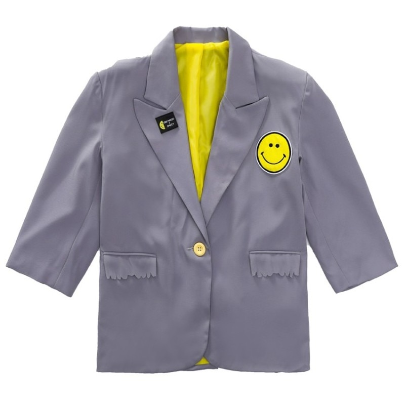 Smiling Face Printed Soild Back Jacket Suit Coat Casual Fashion  Clothing for Baby Girls Mom's Teenagers 3-17Y Girls Outerwear