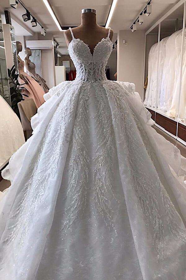 فستان زفاف طويل مطرز بالدانتيل ، فستان زفاف ، موديل 100% ، نفس الصور المخصصة