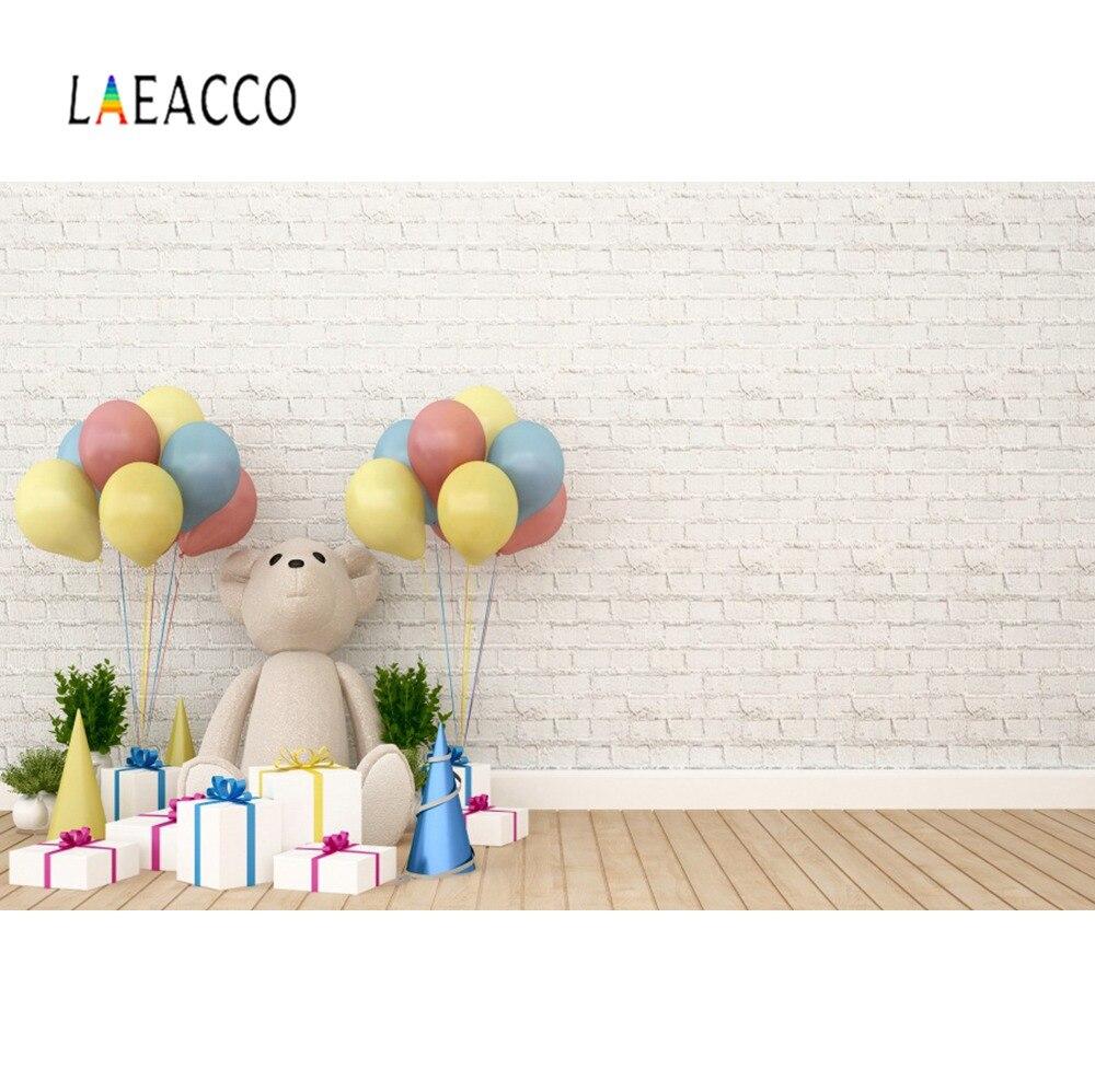 Fondo para fotografía con globos coloridos de pared gris y blanca, regalo para fiesta de cumpleaños, piso de madera, retrato de bebés y niños