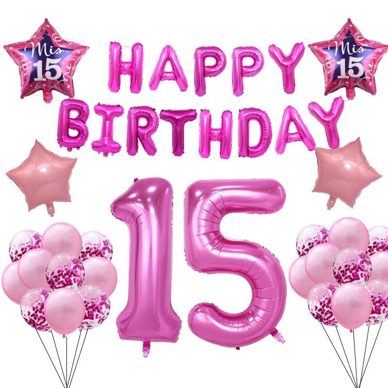 Ballons de décoration pour fête danniversaire   Ballon rose de joyeux anniversaire, pour fille espagnole numéro 15, pour fille âgée de 15e ans