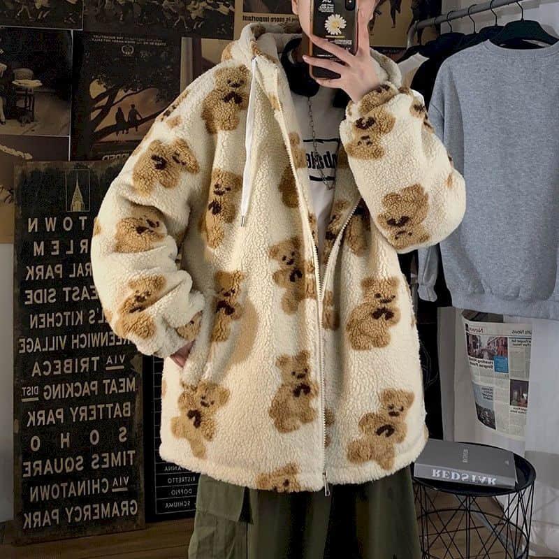سماكة الدب القطن وسادة مبطنة الرجال النساء الشتاء Lamb الصوف معطف الاتجاه الكورية مقنعين زائد المخملية معطف Kawaii الهيب هوب الشارع