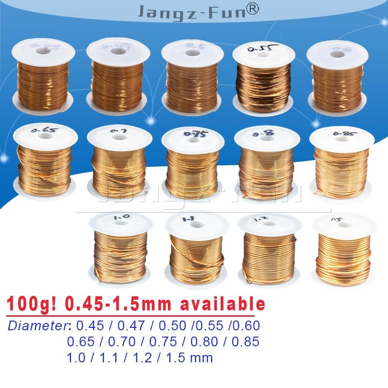 Alambre de cobre esmaltado de poliuretano de 100g, diámetro barnizado de 0,45mm a 1,5mm, QA-1/155 2UEW para puente de transformador de cable