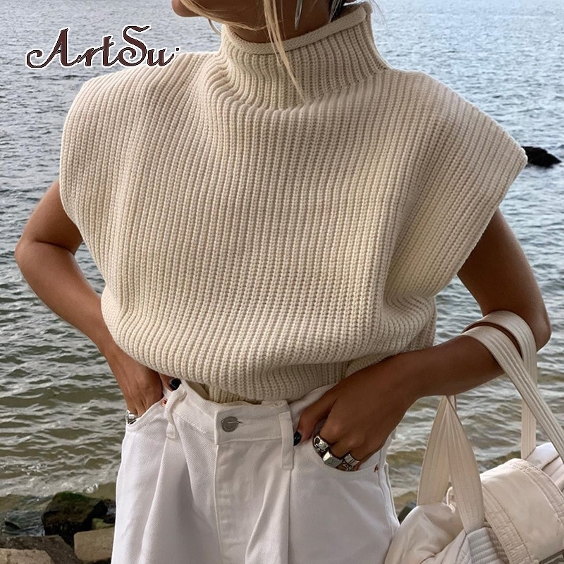 Artsu Sleeveless Turtleneck Solid Ribbed Knitted Sweater Autumn Winter Women Fashion Casual Outfits Loose Jumper 42148