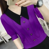 short sleeve t shirt girl in the summer of 2021 the new big yards loose hollow out knitting render unlined upper garment to coat