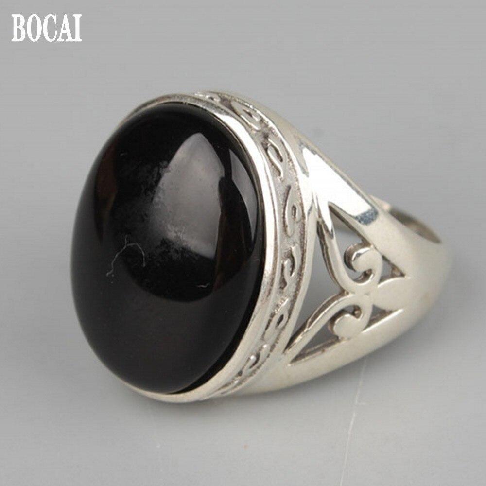 Новое кольцо из серебра 925 пробы для мужчин простое и благородное черное кольцо с инкрустацией агата нежное Серебряное Кольцо мужское кольцо