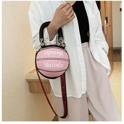 Oluolin feminino redondo saco de basquete 2020 novas bolsas bola para adolescentes sacos de ombro crossbody sacos de mão corrente