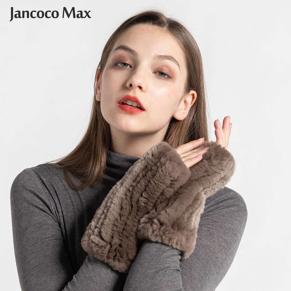 New Arrival Fashion Real Rabbit Fur Gloves Women Real Fur Mittens Winter Warm Knitted Half Finger Gl