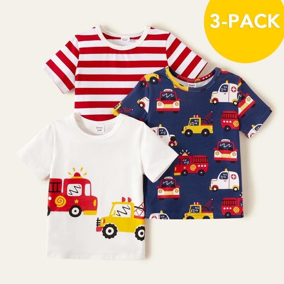 PatPat 2021 Новая летняя хлопковая одежда из 3 предметов для мальчиков ясельного возраста, скорой помощи специализированная в полоску футболки для детей, для мальчиков, топы с короткими рукавами для маленького мальчика, детская одежда|Футболки для мальчиков| | АлиЭкспресс