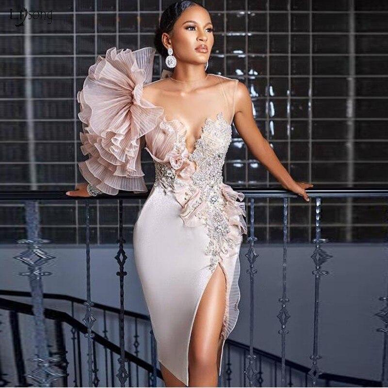 Eleganckie suknie wieczorowe przezroczysta szyja płaszcza suknie na konkurs piękności 2019 szata de wieczór suknie wieczorowe pod rozcięcia po bokach formalna sukienka kwiatowy
