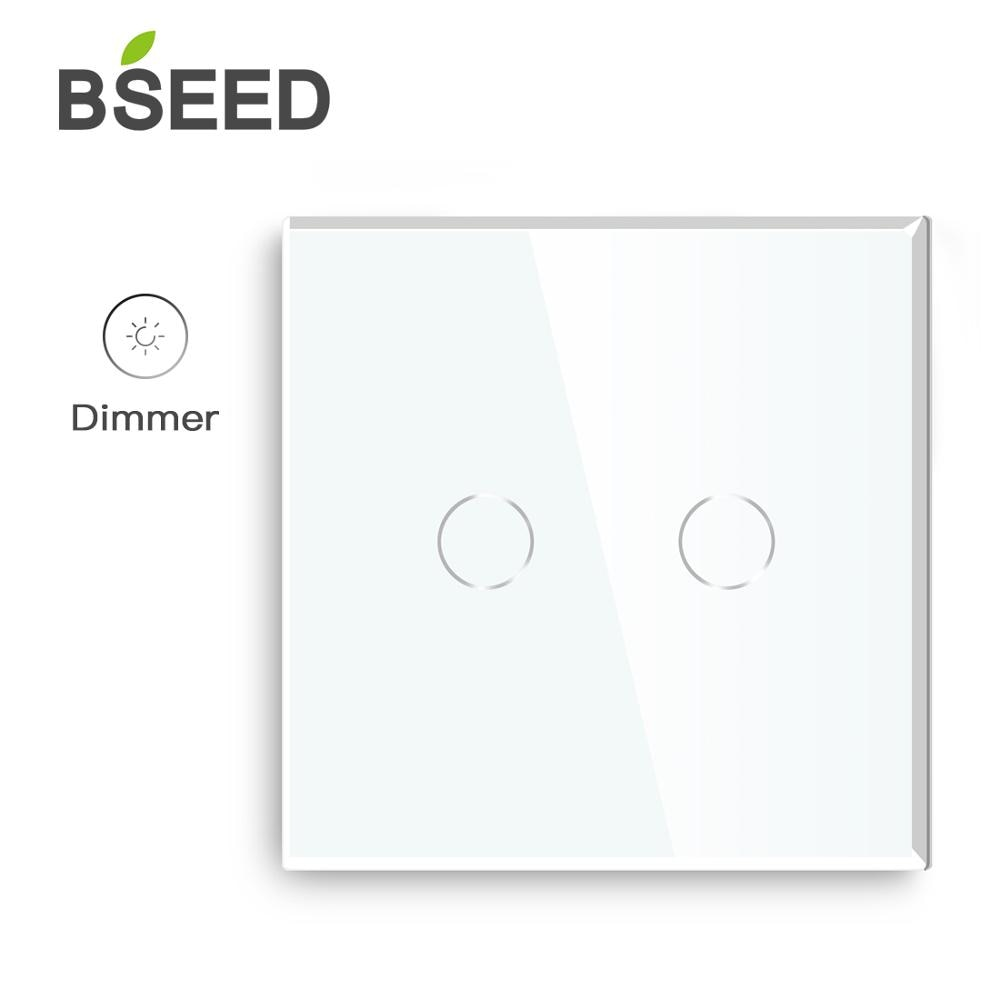 Bseed Dimmer 2 Gang 1 Way EU Standard Touch LED con Panel de atenuador de luz de cristal blanco negro Gloden Dimmer interruptor de pared