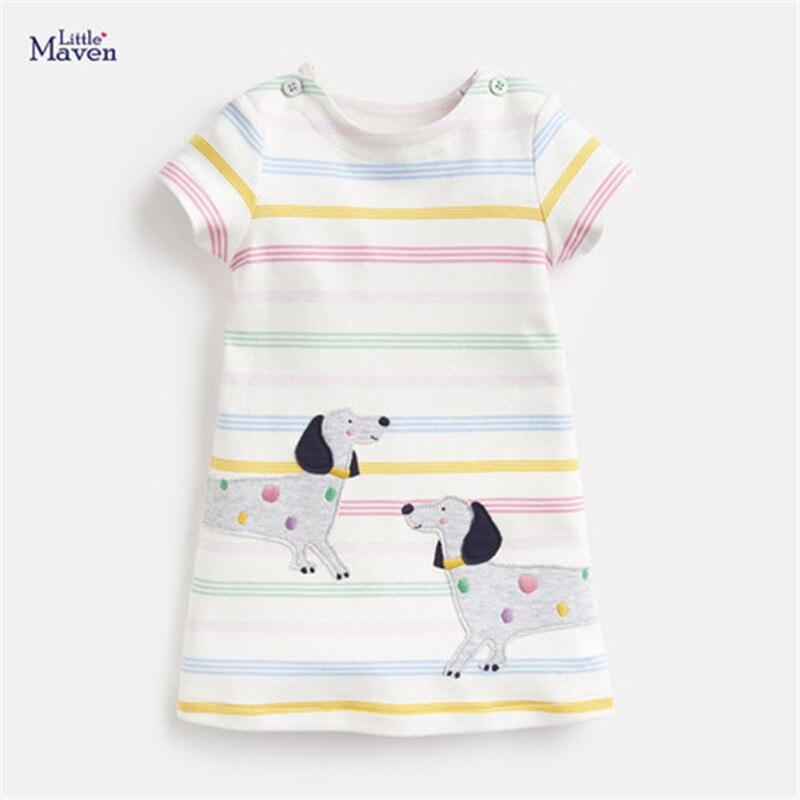 Платье с короткими рукавами для девочек Little Maven милое платье цифровой вышивкой