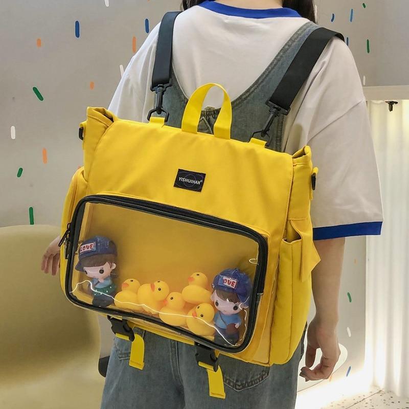 حقيبة ظهر للبنات المراهقات من Ita حقيبة مدرسية شفافة بجيب للنساء دبابيس لطيفة يمكنك صنعها بنفسك حقيبة ظهر للسيدات شفافة من ItaBag Mochila