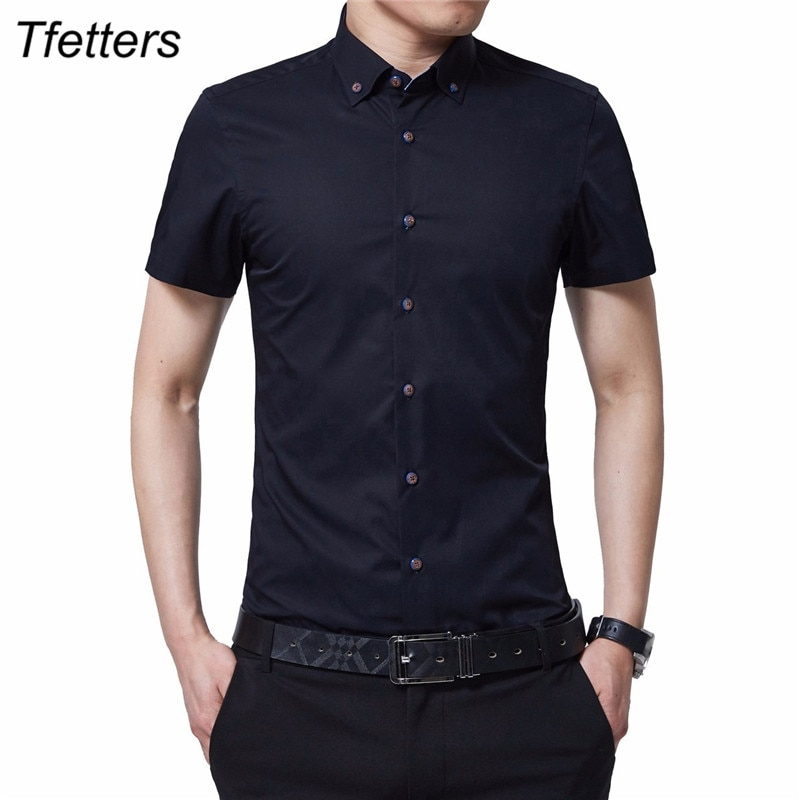 TFETTERS Verano de 2020 marca Camisa nueva Camisa de manga corta para hombres a abajo Slim Fit Camisa Casual de talla grande M-5XL Camisa Masculina