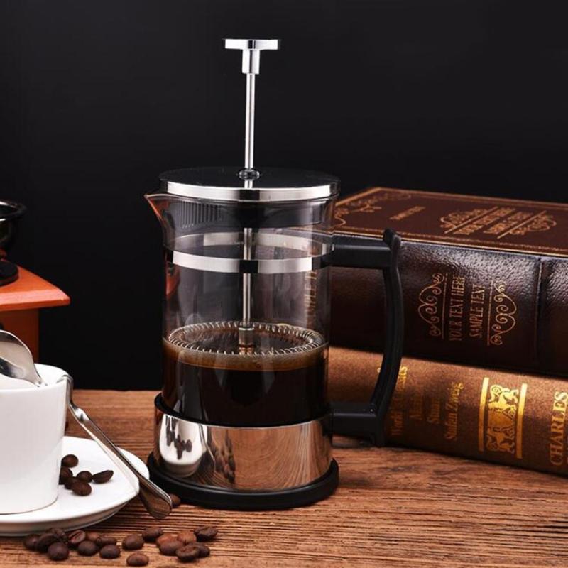 Cafetera Manual de 350 ml, cafetera, cafetera de acero inoxidable, tetera de vidrio, cafetera, café francés, té, filtro, prensa, émbolo