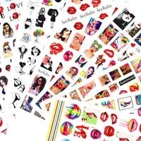 10pcs lip print lipstick fashion girl character avatar nail art sticker tongue love flowers nail decoration adhesive decal