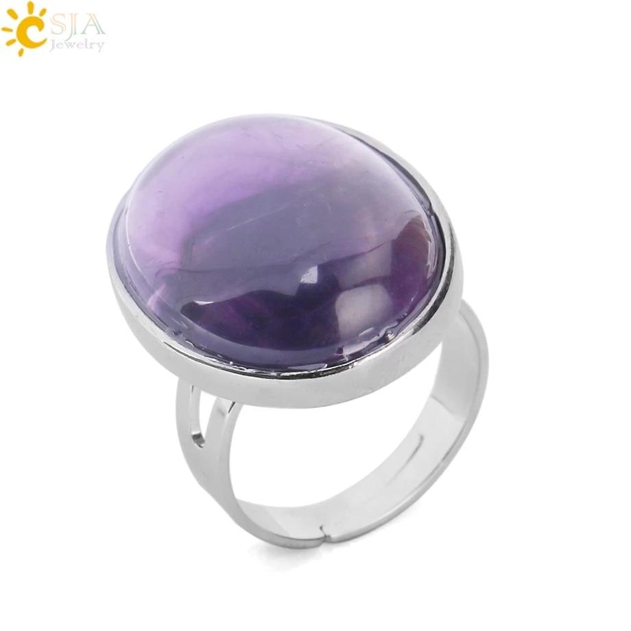 AliExpress - CSJA Reiki Natural Gem Stone Finger Ring for Men Women Pink Quartz Tiger Eye Lapis Lazuli Black Obsidian Party Ring Jewelry E832