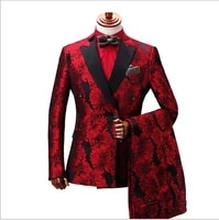 double breasted red fashion floral mens groom wedding suits slim fit prom dress custom made suit groomsman tuxedo for men