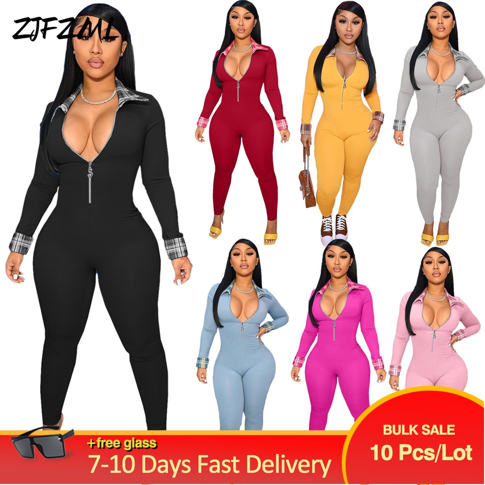 Bulk Items Wholesale Lots Women's Fitness Sporty Romper Streetwear Plaid Spliced Bandage Jumpsuit Early Autumn Party Club Outfit