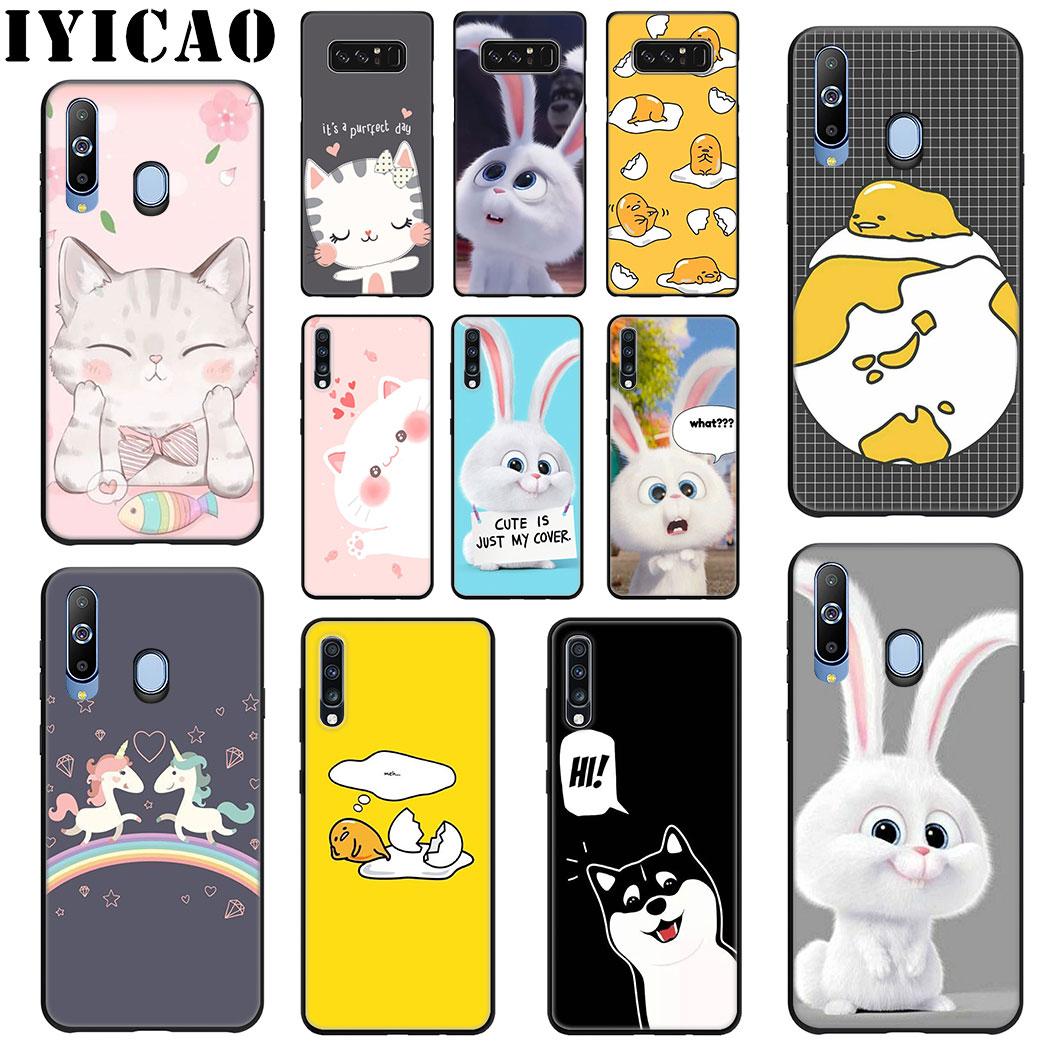 IYICAO lindo conejo de dibujos animados gato funda de silicona suave para Samsung A70 A60 A50 A40 A30 A20 A10 M10 M20 M30 m40 Nota 8 9 teléfono caso
