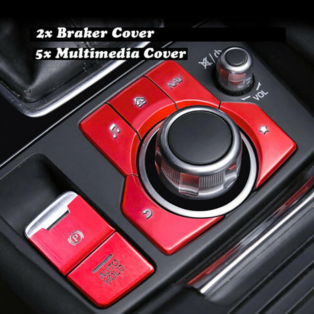 7 Uds tapa de aleación de aluminio Trim A/C consola Auto Hold Multimedia cubierta de botón para Mazda 3 6 CX5 CX9 proteger los accesorios de estilo de coche