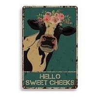 Citation drole de salle de bain en metal  signe en etain  decoration murale Vintage  Hello Sweet Cheeks  vache  pour bureau  maison  salle de classe  cadeaux